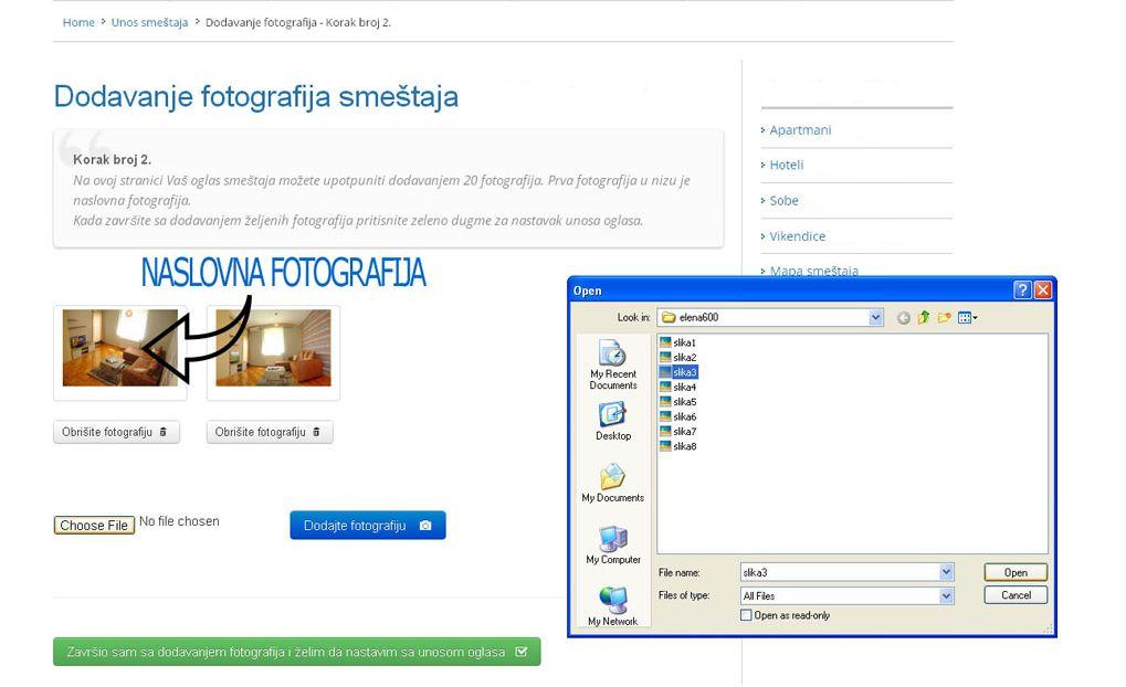 Zlatar smeštaj  - postavljanje oglasa -  slika 2.
